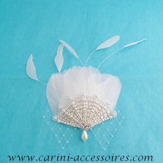 Accessoire cheveux fascinator mariage plumes Eventaille