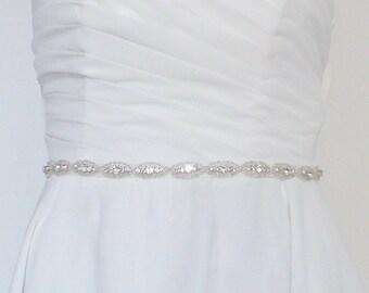 Diva satin and rhinestone Bridal sash