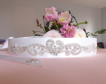 bridal sash belt, bridal sash belt Swarovski, bridal sash rhinestones, wedding belt, satin ribbon sash