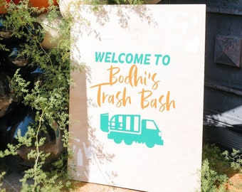 Trash Truck Party Welcome Sign   Trash Party   Garbage Party Sign   Kids Party   Personalized Trash Day Party