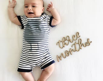 Babys First Year | Baby Monthly Milestone Wood Cut Outs | Baby Month to Month | Baby Month | Baby Monthly Stickers | New Baby | Baby Gift