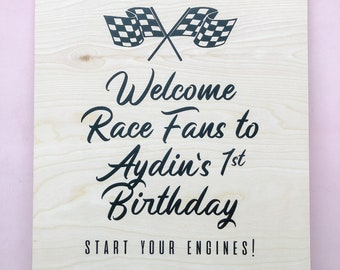 Racecar Party Welcome Sign   Car Party   Kids Birthday Party Sign   Kids Party   Personalized Racecar   Boy Birthday   Vintage Racecar