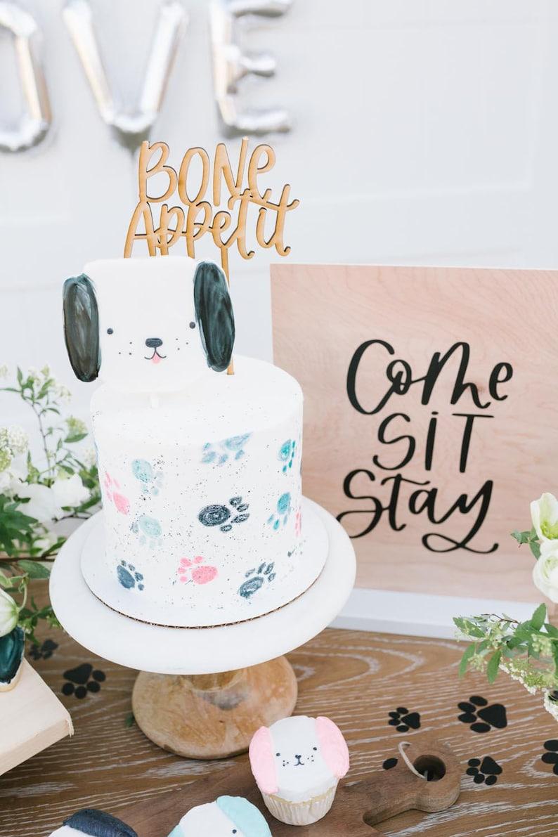 Bone Appetit Cake Topper Puppy Dog Party Birthday