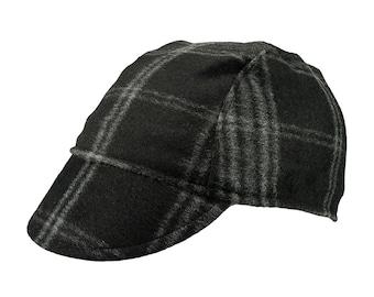 9fd8cbfb7 Black   checkered wool cycling cap - handmade cap  winter cap  bicycle cap  wool  cap  cycling clothes