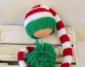 Kids Knitted Santas Elf Striped hat for newborn to 3 years 70197fcc21d8