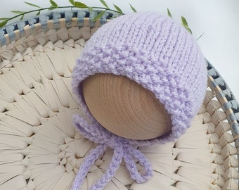 Darcy Photo Prop Newborn Girl Hat Bonnet Rose Pink with Seed Stitch Border