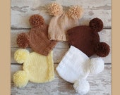 READY Double Pom Pom Baby hat 0-6 months old, handknit chunky bobble beanie - wooly baby hat - chunky knit toque