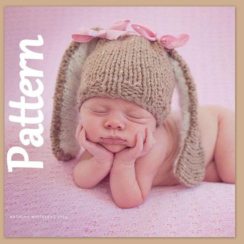 f186397102b Baby Bunny Beanie hat Knitting PATTERN Newborn hat pattern