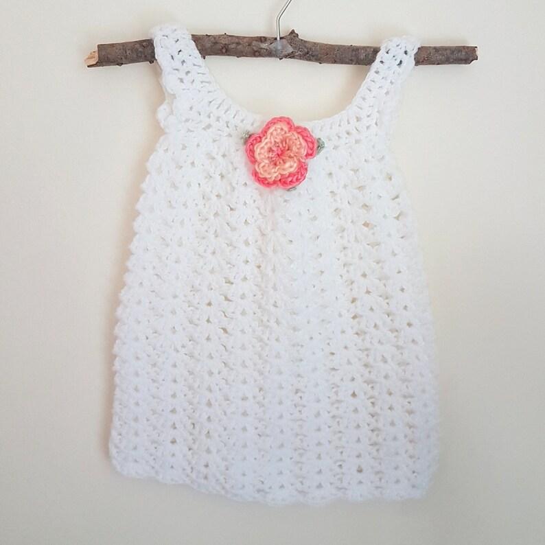5b13fbf55 READY White Crochet Baby Dress newborn pinafore dress knit