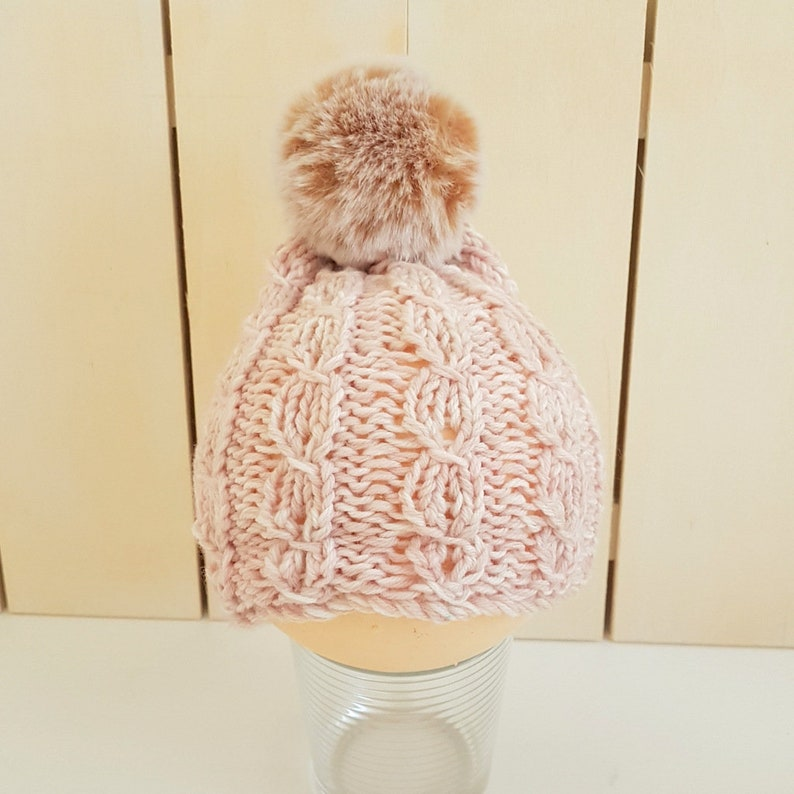 c286acb985e6 READY Chunky Pink Cabled Baby Beanie with Pompom in Soft Pink