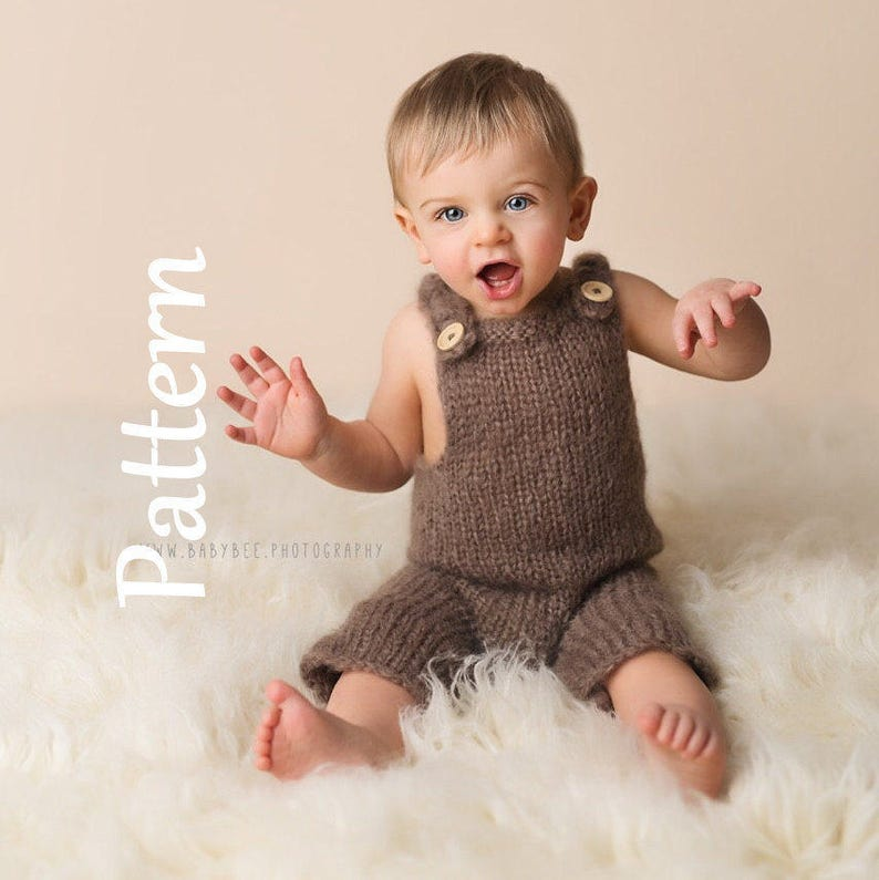 d9c7c747c8b4 Easy Baby Dungaree Knitting PATTERN 6-9 months Romper Hand