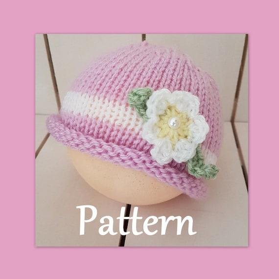 Easy Summer Baby Girl Beanie Knitting Pattern 0 12 Months Etsy