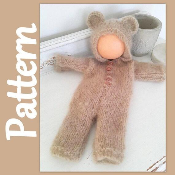 Bear hoodie pajamas pattern knitting PATTERN baby Hoodie | Etsy