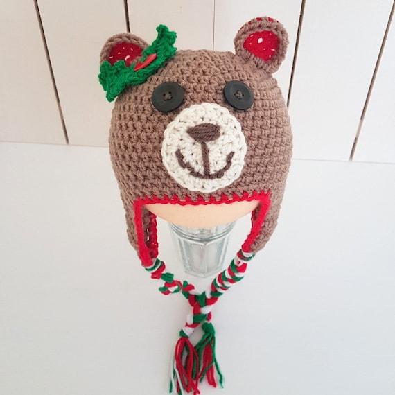 RTS Crochet bébé Noël ours bonnet 6-12 mois, ours oreilles chapeau, les  filles ours Bonnet, ... a734377c1bb