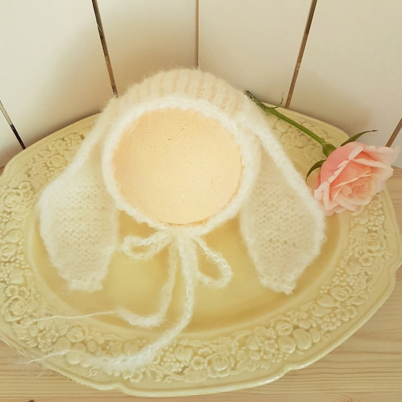 60af14f8a86 Knitted Baby bunny bonnet newborn bunny hat baby bunny ears
