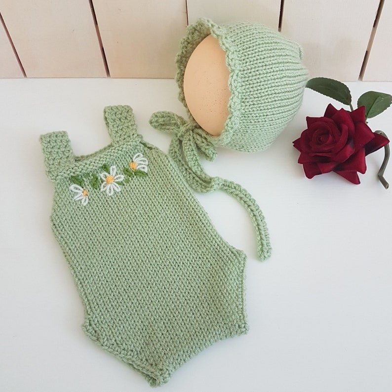 knit newborn playsuit with matching green bonnet READY  Summer baby romper outfit mint knitted baby girl shower gift set idea