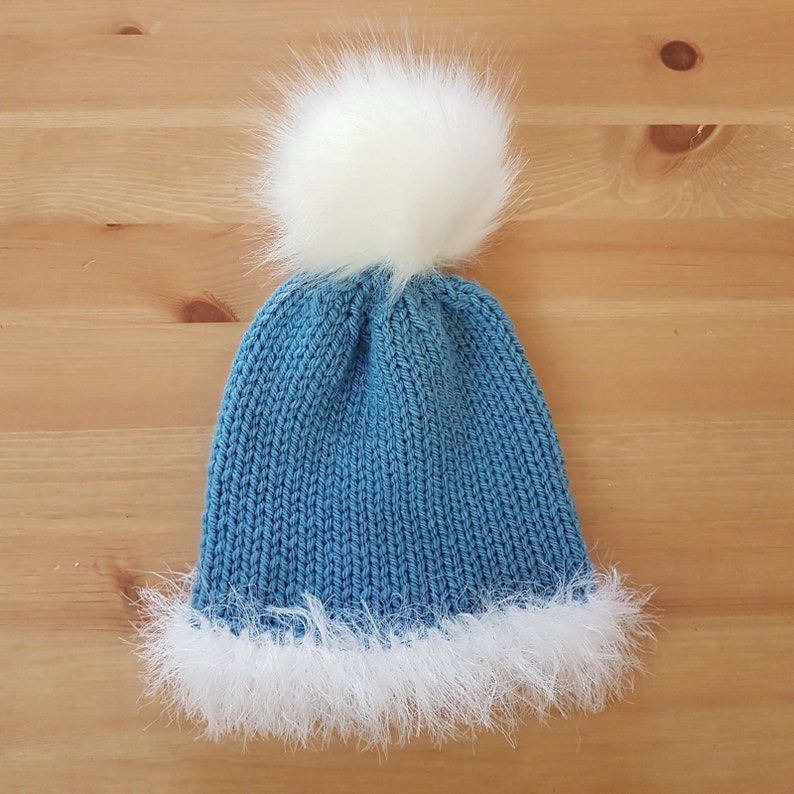 81d49bc0a02 READY Blue Baby fuzzy winter beanie with faux fur pompom 3-12 months