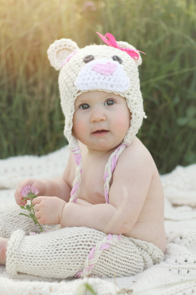 f63a1b37a42 Crochet Baby Bear Beanie with Heart nose newborn to 3 years