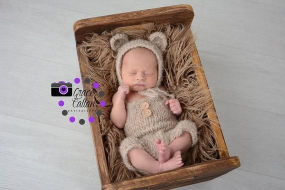 85f4b5f0b3bf7 Baby Bear Pants set with knitted Bear bonnet 0-9   Etsy