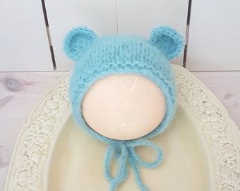 RTS Blue Bear bonnet, fluffy baby bonnet, newborn hat, prop, Baby bear hat, knitted baby hat,  RTS , alpaca bear bonnet. UK seller