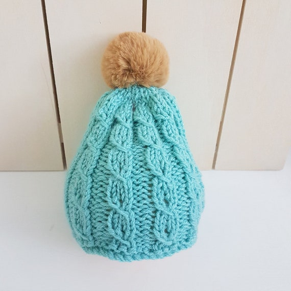 736de6a5aad READY Chunky Cable Baby Beanie with Pompom in blue 0-6 months