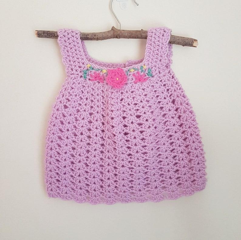 eda3d1de7 READY Pink Crochet Baby Dress newborn pinafore dress knit