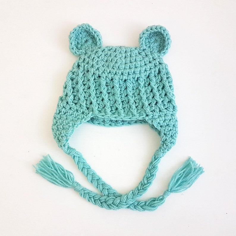 2ab4b7f48 READY Blue Baby Bear Crochet Beanie (6-12 months), boys ear flap beanie  with plaits. sitter size bear beanie photography prop, UK seller