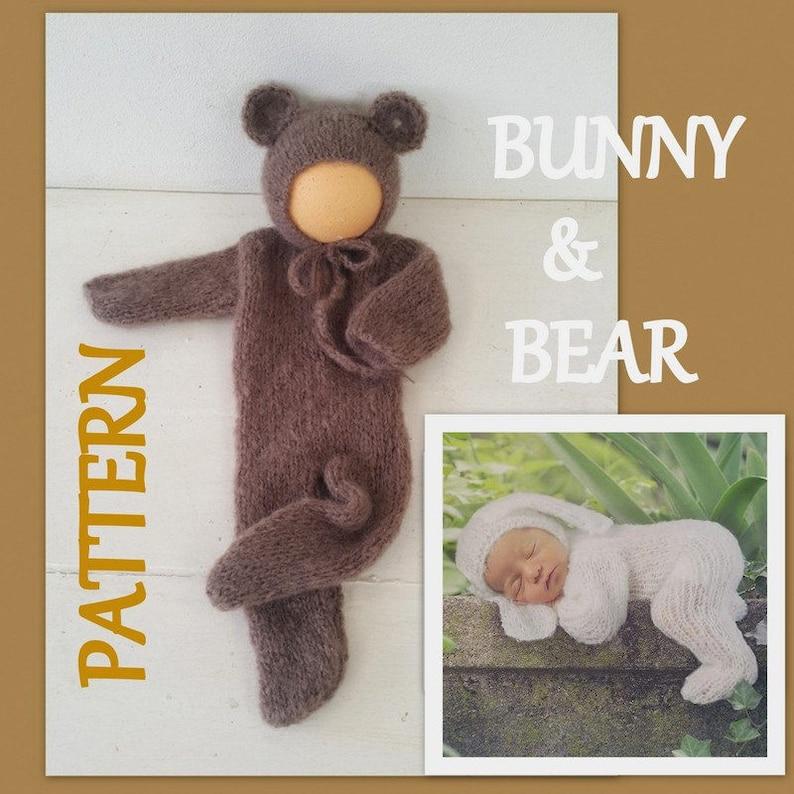 9408743bf05 Newborn Baby Bear footed Romper Knitting PATTERN photo prop