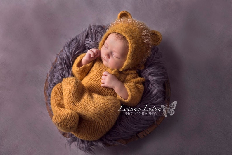 Baby Lion footed pajama prop set