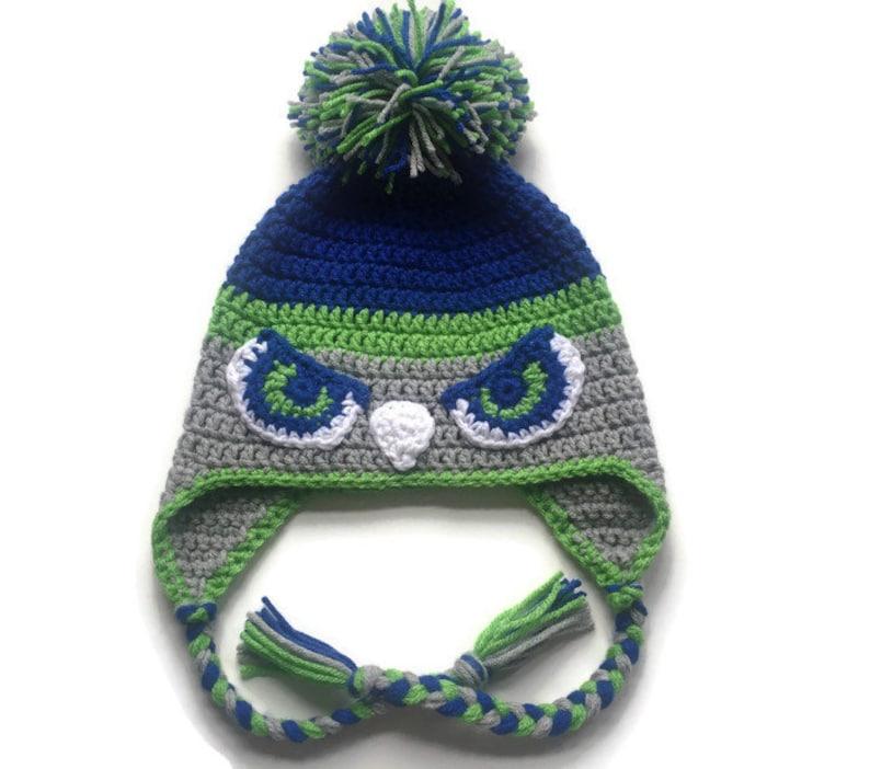 96d9e134 Seahawks Earflap Hat, Seahawks Crochet Beanie with Pom-Pom