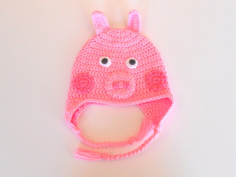 Peppa Pig Hat Crochet Beanie Dress Up Halloween Costume