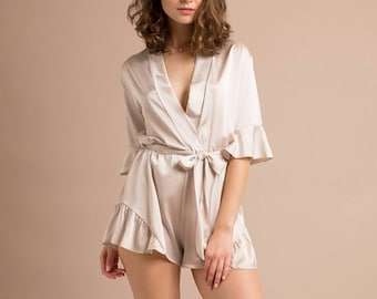 Bridesmaid Romper Bridesmaid Robes Gifts for Bridal Party RomperChampagne Silk Satin Romper Bridal Party Robes Getting Ready Jumpsuit