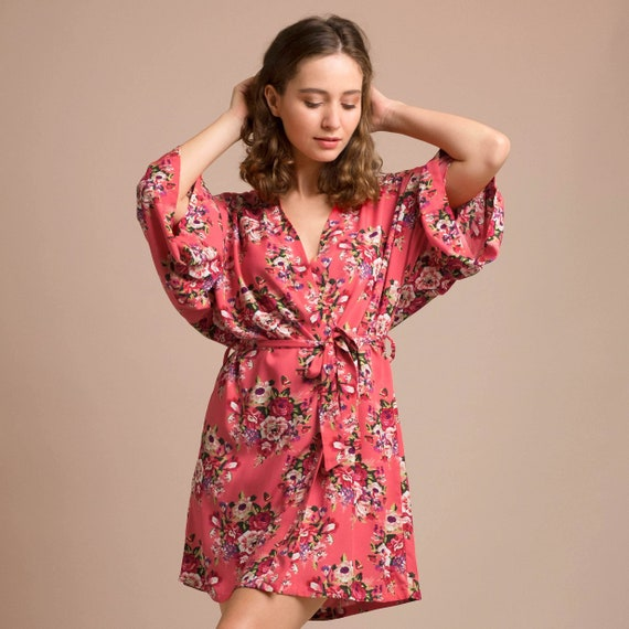 8cce6f3aba floral cotton bridesmaid robes cotton kimono robe cotton