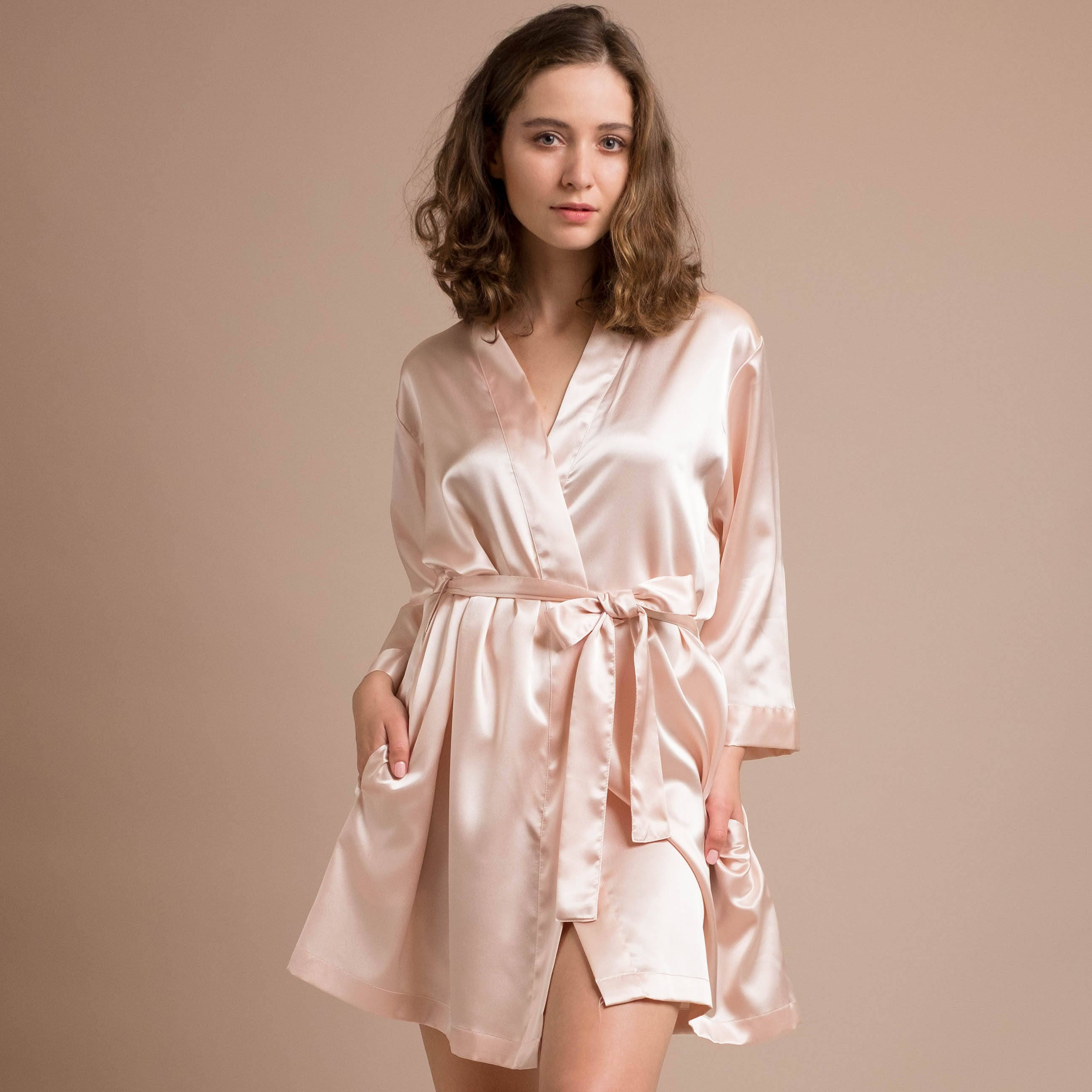 Dressing Gowns And Robes: Bridesmaid Robes Bridal Dressing Gown Short Satin Robes