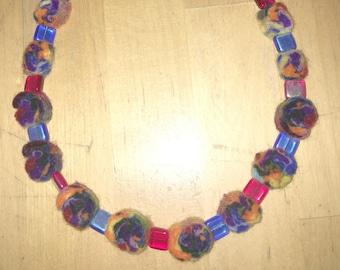 FELT NECKLACE, necklace, necklace, children's necklace, jewelry parts. Felt discs, costume jewelry, colorful
