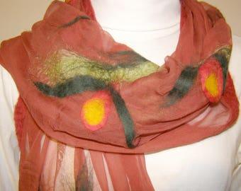 Nuno felt scarf red-green, silk scarf  chiffon silk felted in Nunotechnik, silk, merino wool, unique