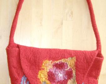 Felt bag, shoulder bag, messenger bag red, with silk