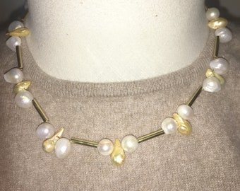 CHAIN with CULTIVATED PEARLS, pearl necklace, necklace, necklaces, jewelry, cultured pearls, ladies necklace,