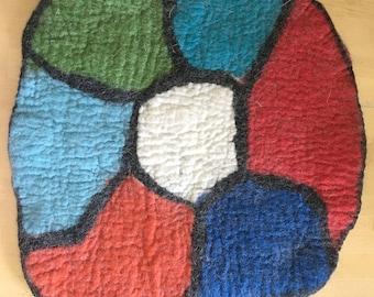 Felt pillow, felted pillow, seat cushion, chair cushion, hiking pillow, pillow, colorful