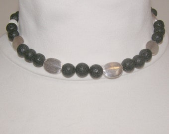 Pearl necklace; Collier; chain, lava beads and verse. Intermediate part, magnetic clasp, pearl necklace, necklace