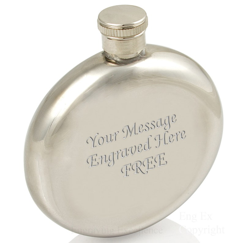 Personalised 5oz Round Hip Flask Birthday Christmas Wedding Gift Engraved FREE