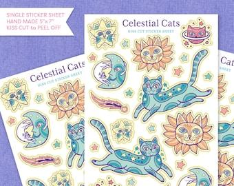 Celestial Cats Kiss Cut Paper Sticker Sheet