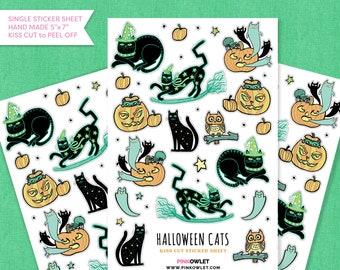 Halloween Kitties Kiss Cut Paper Sticker Sheet