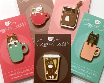 COFFEE CATS Set of FIVE Enamel Pins