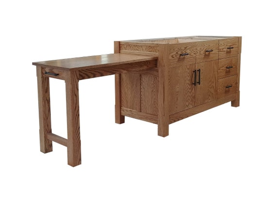 Kitchen Island W Pullout Table Etsy