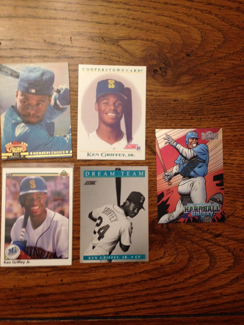 Ken Griffey Jr 5 Different Baseball Cards As Pictured 00158