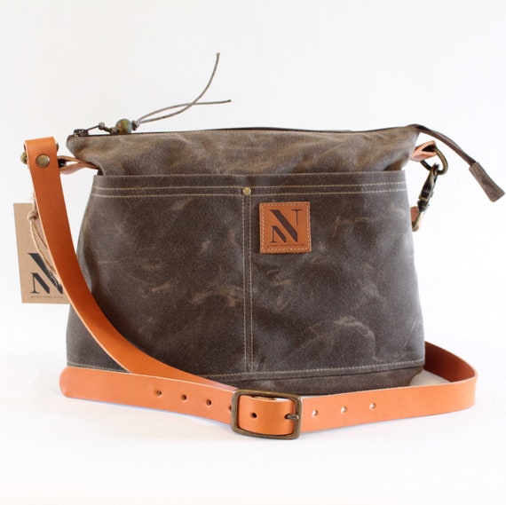 232752be1e35 Brown Waxed Canvas Cross Body Bag with Tan Leather Strap
