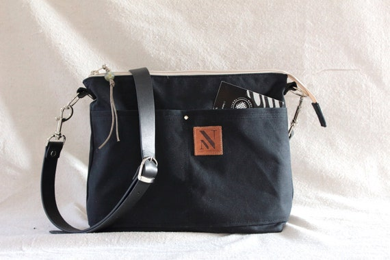 dce5ed95d0af Black Waxed Canvas Cross Body Bag with Black Leather Strap