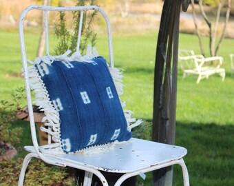 Mali mud cloth pillow, Mali indigo pillow, Handwoven indigo pillow, Handwoven cotton pillow, California chic pillow