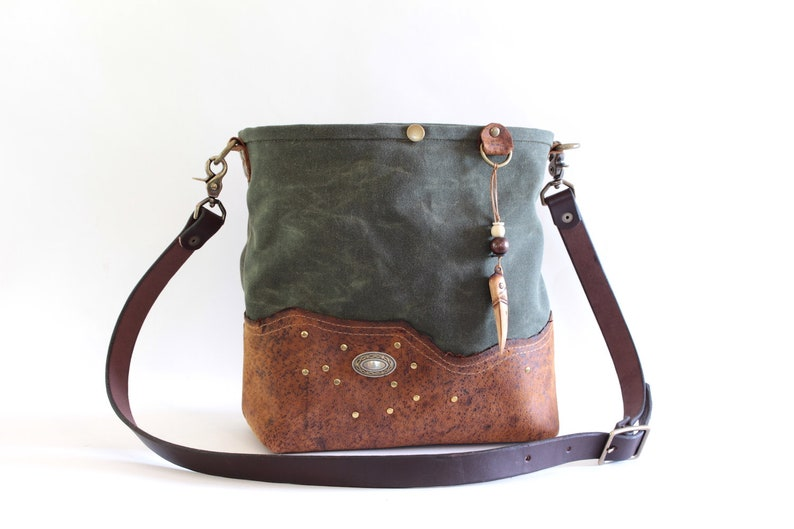 Green Bucket Bag in Waxed Cotton with dark brown leather and image 0